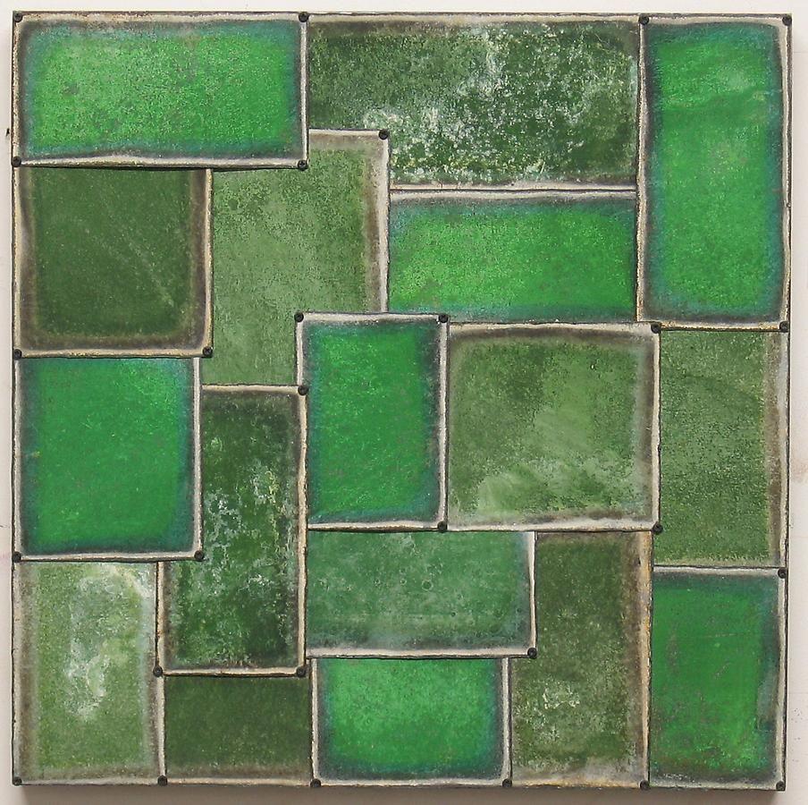 "Nathan Slate Joseph, Cut Green, 2003, Pure color pigment on galvanized steel, 24 x 24"""