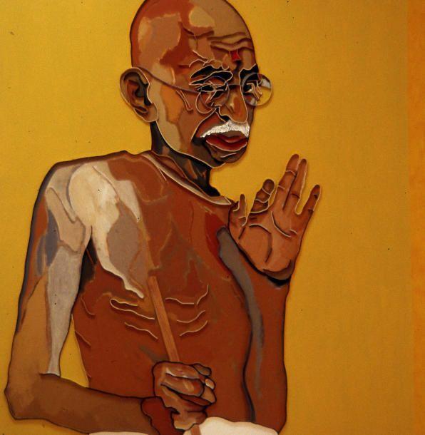 """Lee Waisler, Gandhi, 2007, Acrylic and wood on canvas, 60 x 60"""""""