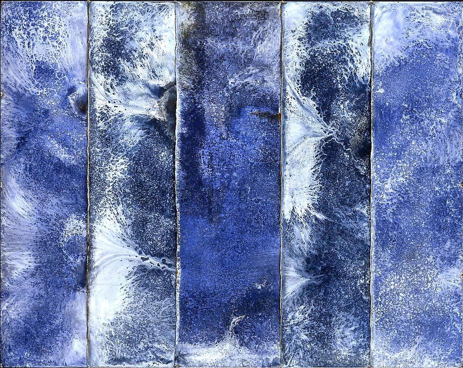"Nathan Slate Joseph, Part Researcher, 2005, Pure pigment on galvanized steel, 47 x 59"""