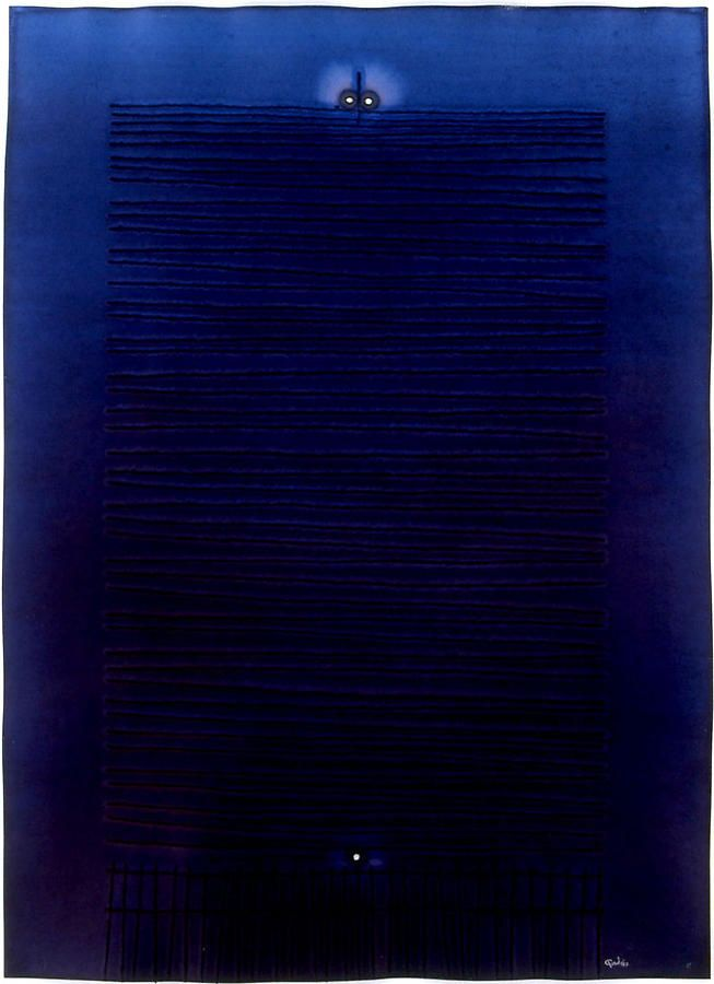 "Sohan Qadri, Sat III,  2007, Ink and dye on paper, 55 x 39"""