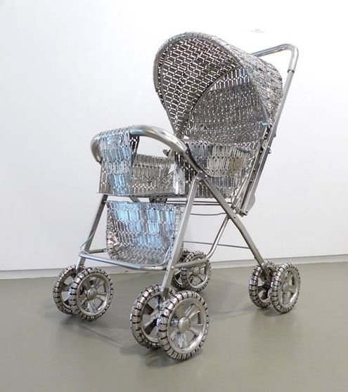 , The Stolen Dream, 2013, stainless steel made razor blades, 27.5 x 20 x 37 inches