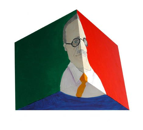 Susan Weil, Stephen,  2003, Acrylic on triangular wood solid, 10 x 14 x 7""
