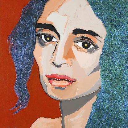 """Lee Waisler, Arundhati Roy, 2007, Acrylic and wood on canvas, 40 x 40"""""""