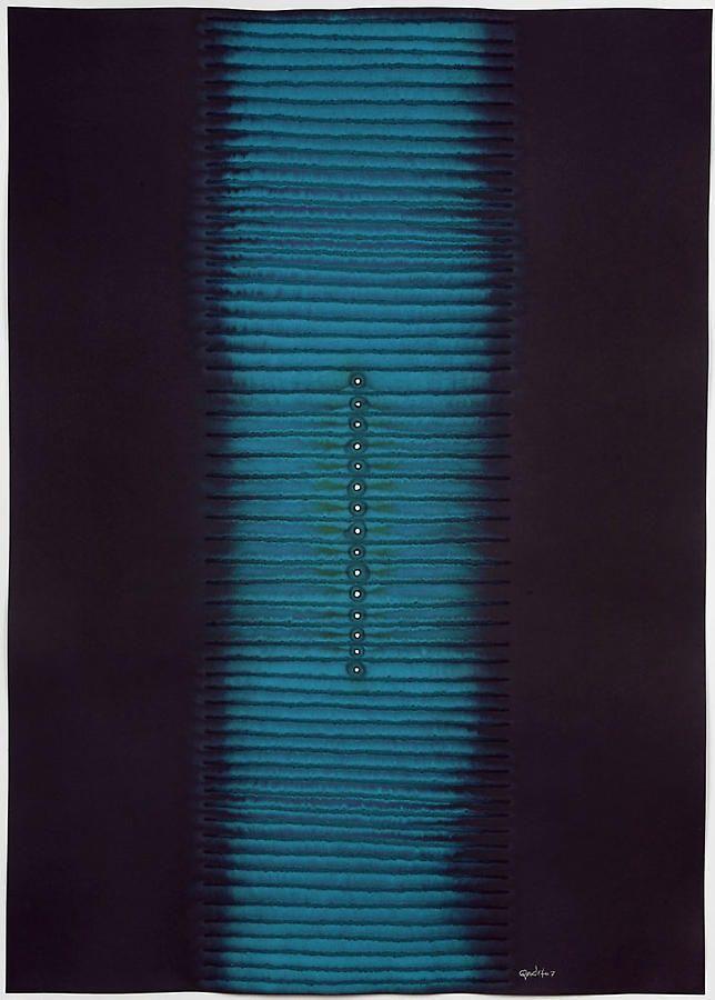 "Sohan Qadri, Ashwini II, 2007, Ink and dye on paper, 55 x 39"""