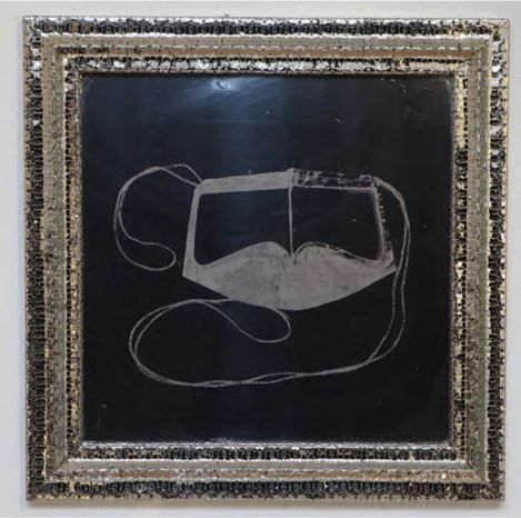 Trapped - 5, 2013,stainless steel razor blades and exposed drawing on mirror polished stainless steel,29.9 x 29.9 inches/76x 76 cm