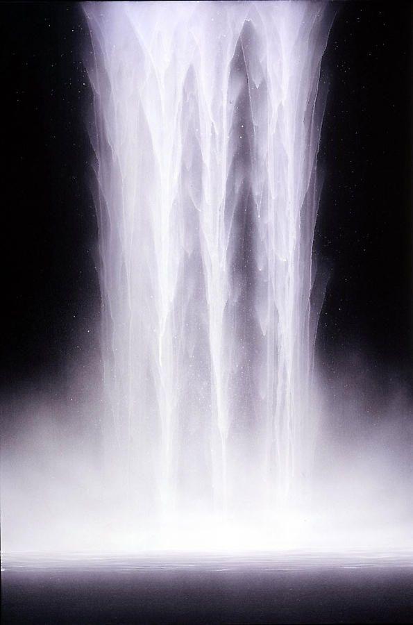 "Hiroshi Senju, Day Falls / Night Falls V, 2007, Fluorescent pigment on rice paper mounted on board, 38.75 x 23.75"""