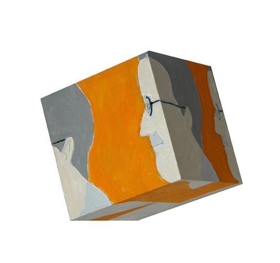 Susan Weil, Line Up, 2003, Acrylic on wood cube, 10 x 10 x 10""