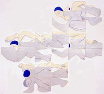 """Susan Weil, Swimmers, 2000, Acrylic on foamcore, 38 x 95"""""""