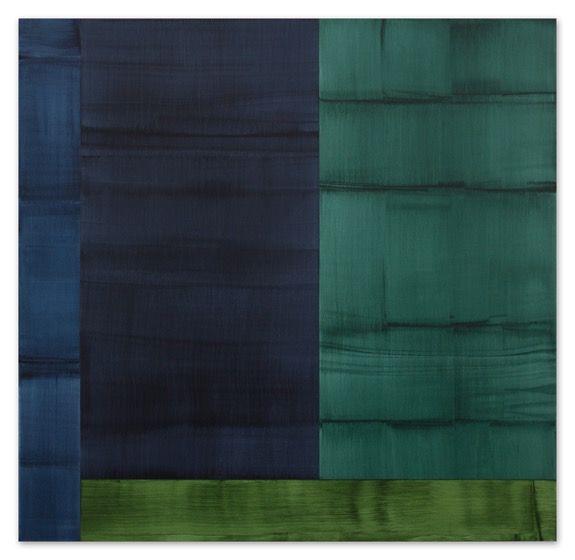 Ricado Mazal, Bhutan Abstraction with Grey-Green 1, 2014, oil on linen, 71 x 73 inches / 180.3 x 185.4 cm.