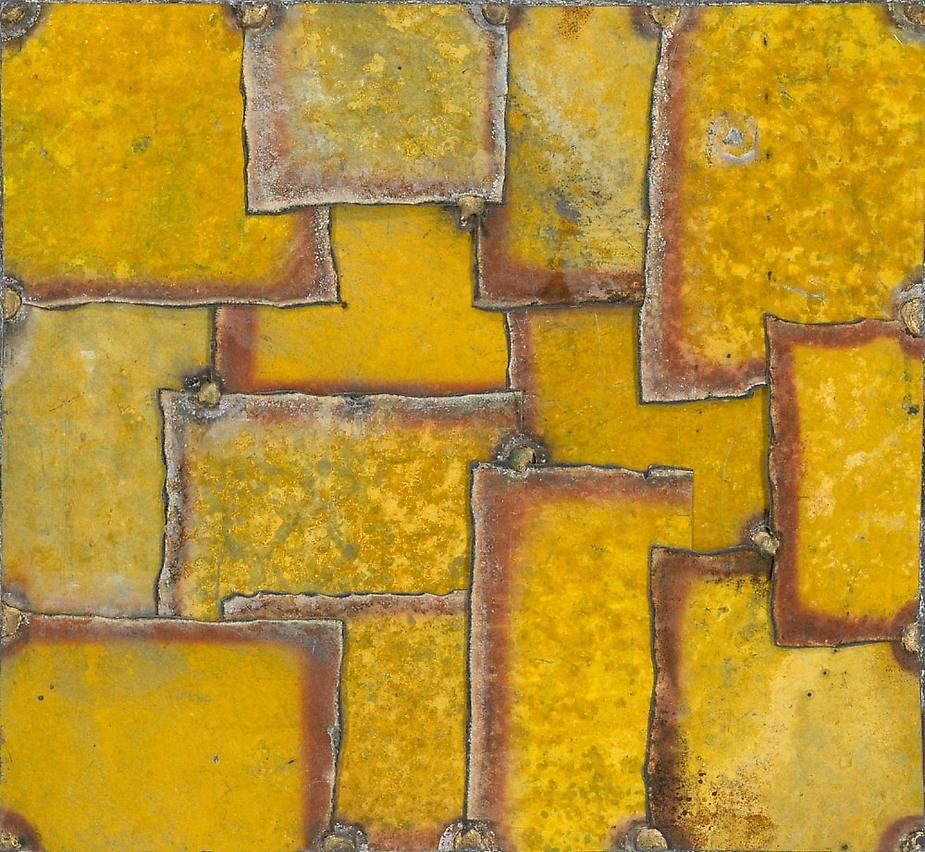 "Nathan Slate Joseph, Silk Route Cuts India 13, 2008, Pure pigment on galvanized steel, 18 x 18"""