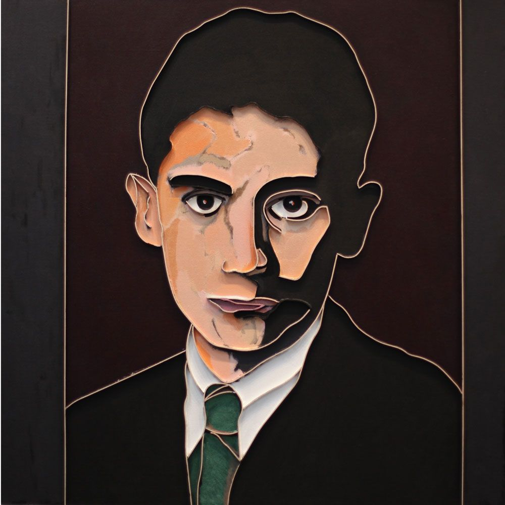 Kafka (Green Tie), 2012, acrylic and wood on canvas, 36 x 36 inches inches/91.4 x 91.4 cm
