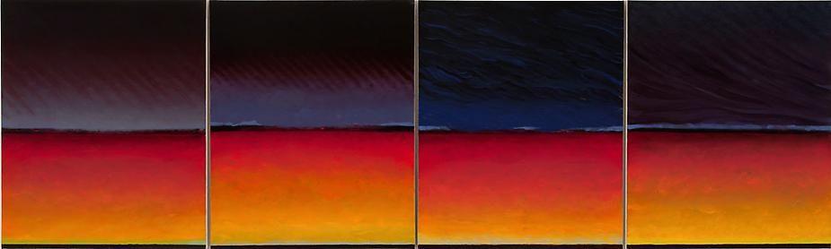 """River Quartet, 2009, Oil on canvas, 29 x 97.5"""""""