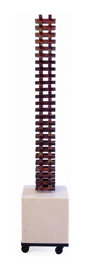 "Nathan Slate Joseph, Urbana Red, 2009, Pure pigment on galvanized steel, marble steel, 44 x 5 x 5"""