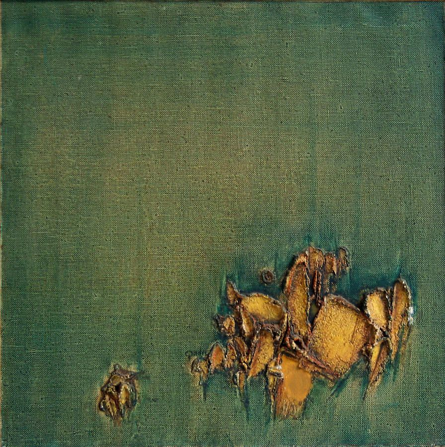 """Yellow Green Duet, 1969, Oil on canvas, 26 x 26"""""""