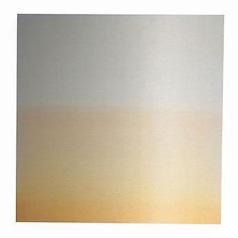 , Miya Ando, Transformation Orange Light, 2013, hand-dyed anodized aluminum, 24 x 24 inches