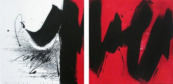, Golnaz Fathi, Untitled, 2015, acrylic and pen on canvas, 11.8 x 23.6 inches/30 x 60 cm