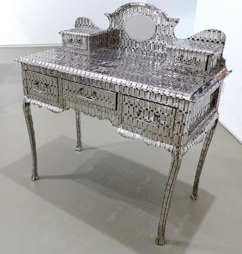 , My Mother's Dressing Table, 2013, stainless steel made razor blades, 37.5 x 18.5 x 39 inches