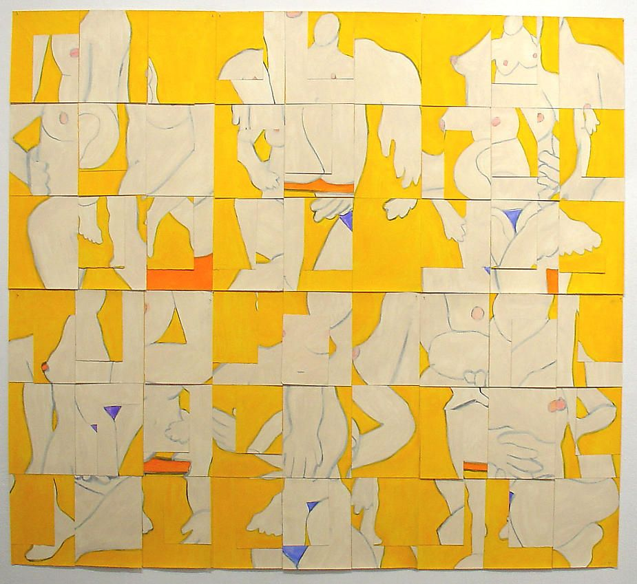 Susan Weil, Color Configurations (yellow), 2000, Acrylic on paper, 60 x 66""