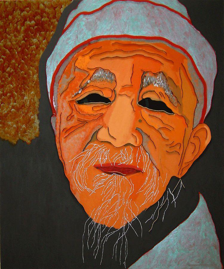 "Dr. Ho Shi-Xiu, 2008, Acrylic and wood on canvas, 60 x 50"""