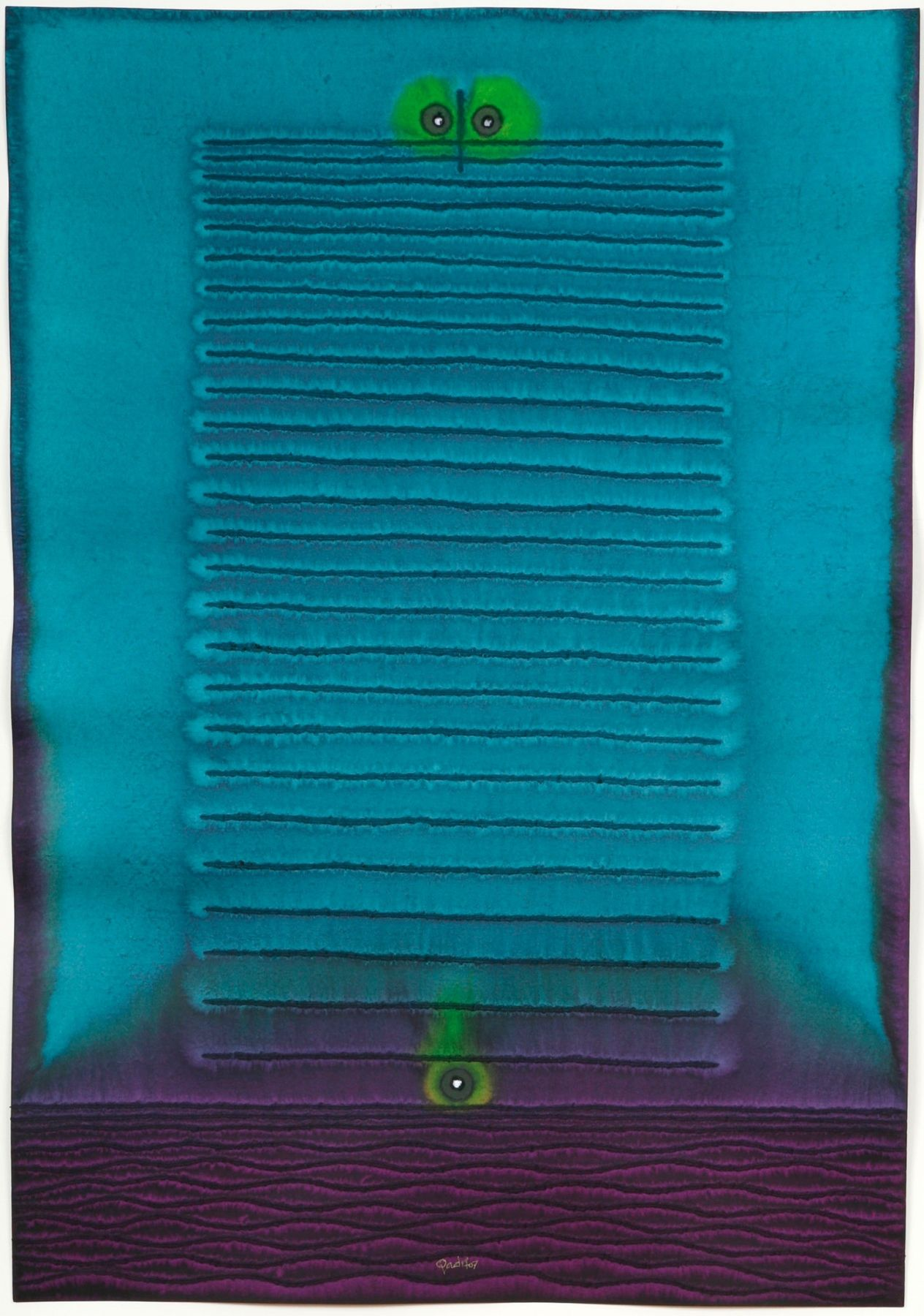 Sohan Qadri, Deva 1, 2006, ink and dye on paper, 39 x 27 inches / 99.06 x 68.58 cm.