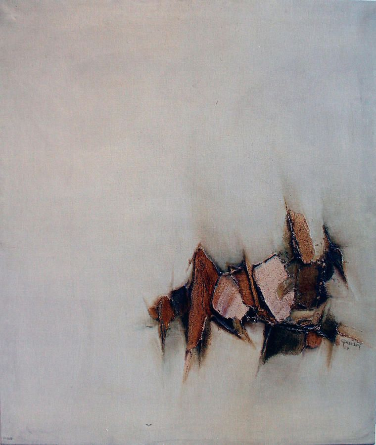 "Sohan Qadri, Untitled (Switzerland), 1967, oil on canvas, 39.5 x 33.5"""