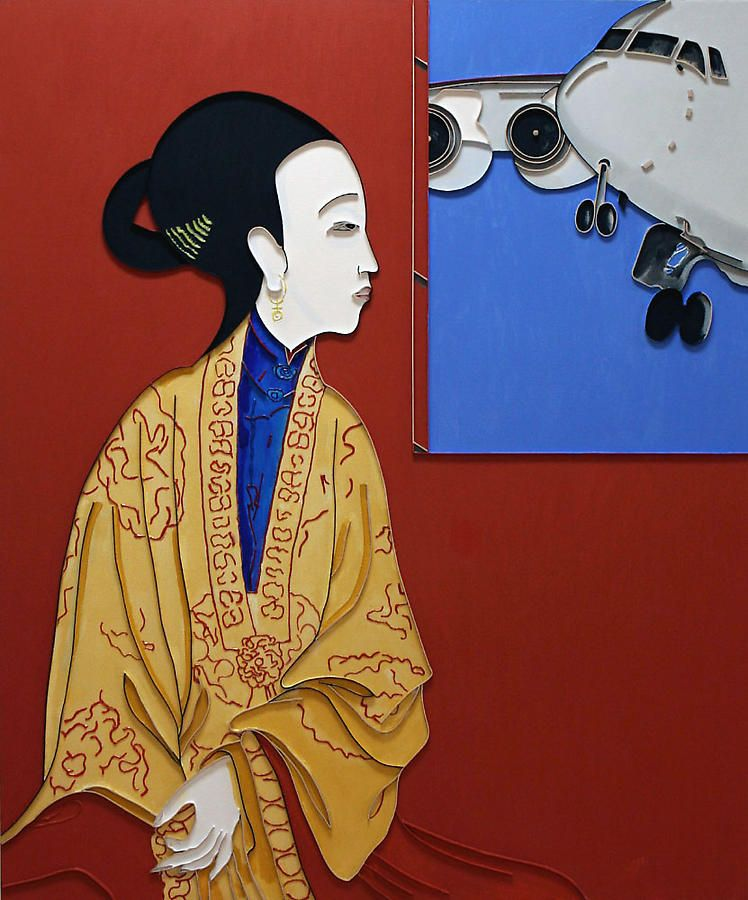 "Empress Flight, 2008, Acrylic and wood on canvas, 60 x 50"""