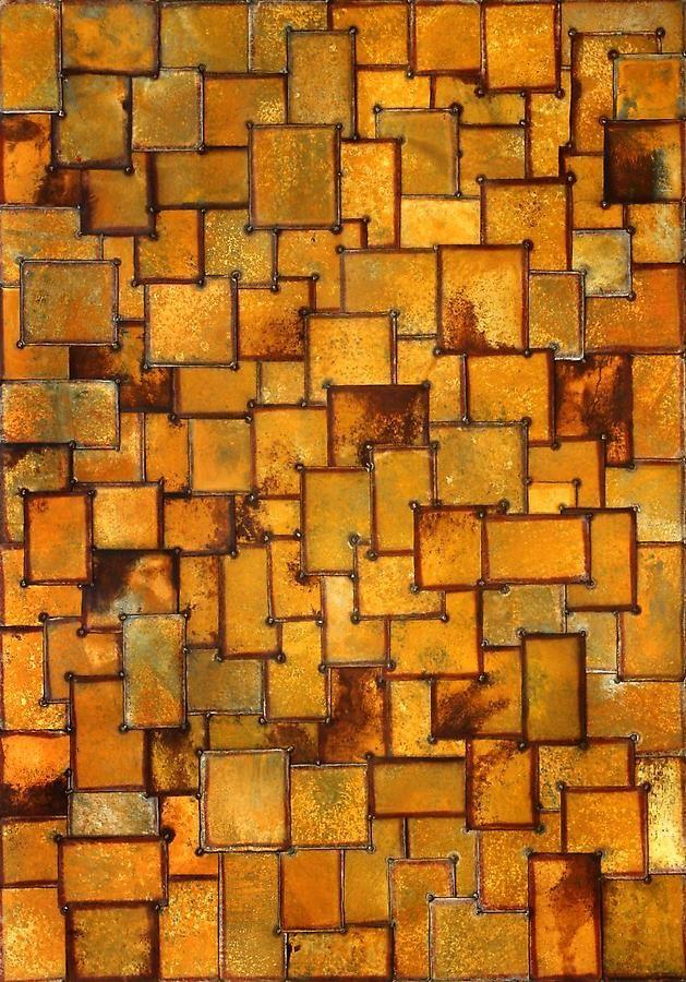 "Nathan Slate Joseph, Sun Sea Moon, 2007, Pure pigment on galvanized steel, 84 x 60 x 2"""