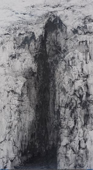 , Hiroshi Senju, Cliff #25, 2015, acrylic and natural pigments on Japanese mulberry paper, 68 7/8 x 37 3/4 inches/175 x 96 cm