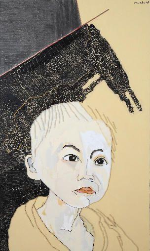 "Lee Waisler, Cambodian Boy, 2008, Acrylic and wood on canvas, 90 x 54"""