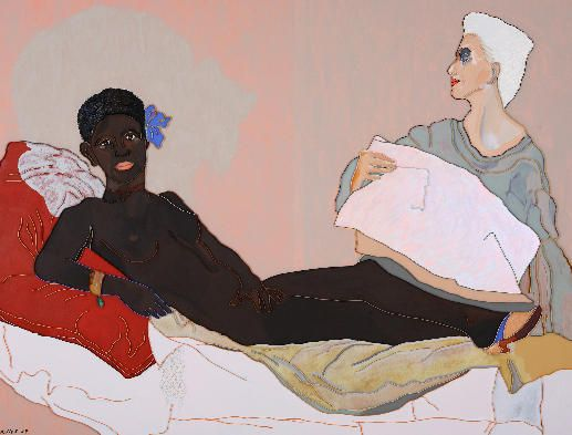 "Lee Waisler, Black Olympia, 2007, Acrylic and wood on canvas, 76 x 100"""