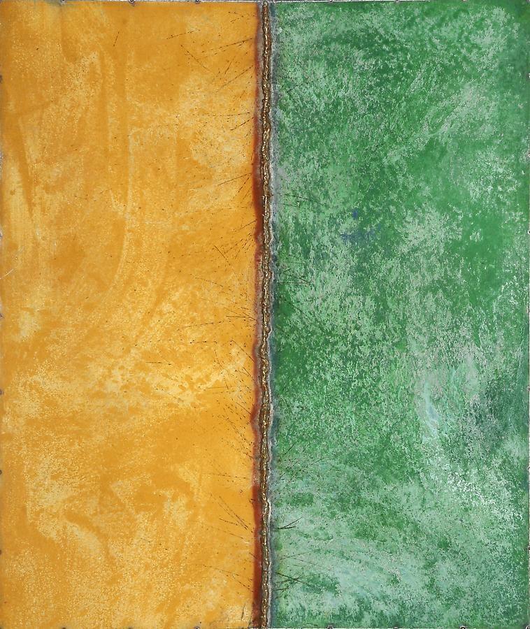 "Nathan Slate Joseph, Line Drawing Yellow/Green, 2006, Pure pigment on galvanized steel, 48 x 40 x 2"""
