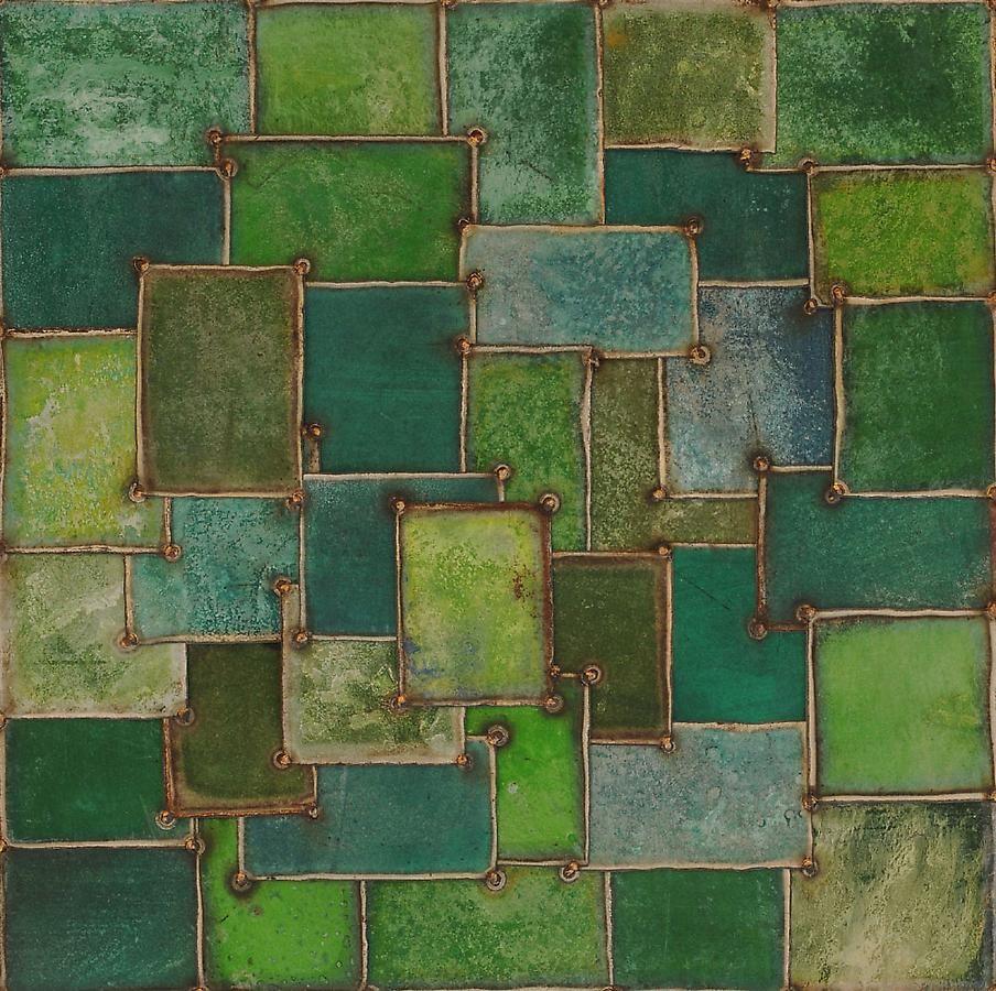"Nathan Slate Joseph, Scarf Spring, 2006, Pure pigment on galvanized steel, 36 x 36"""