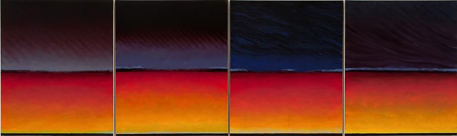 "River Quartet, 2008, Oil on canvas, 29 x 97.5"" (four panels)"