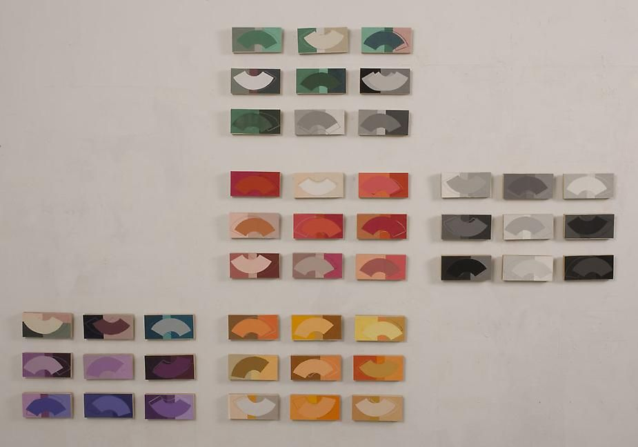 Denise Green, Beyond Richter, 2009, silk screen printed paper on marine board, each 3 x 6 inches