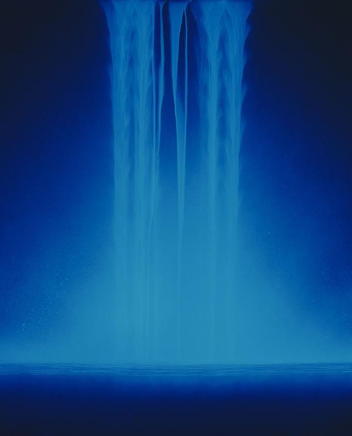 Hiroshi Senju, Falling Water, 2013, Acrylic and fluorescent pigments on Japanese mulberry paper, 63 13/16 x 51 5/16 inches © 2013 Hiroshi Senju