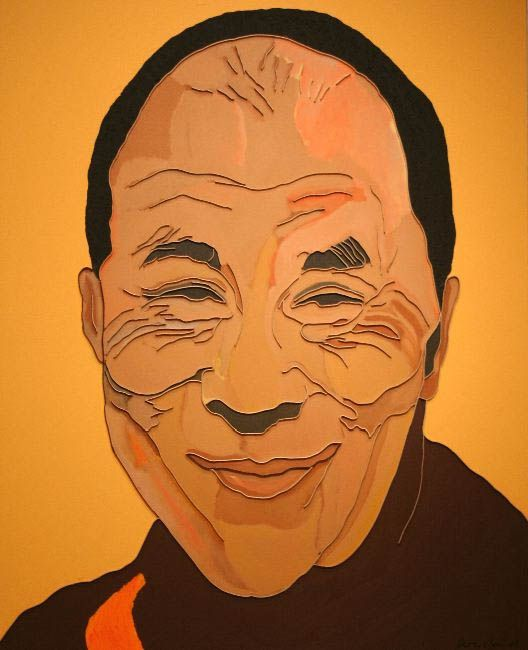 "Lee Waisler, Dalai Lama, 2007, Acrylic and wood on canvas, 60 x 48"""