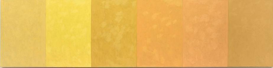 6 Brands of Naples Yellow, 2010, oil on linen, 4 x 16 feet