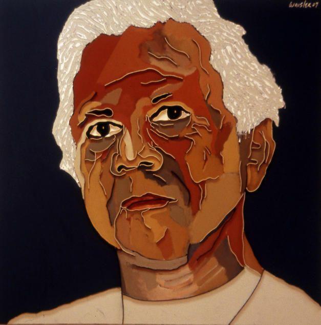 "Lee Waisler, Muhammad Yunus, 2007, Acrylic and wood on canvas, 50 x 50"""