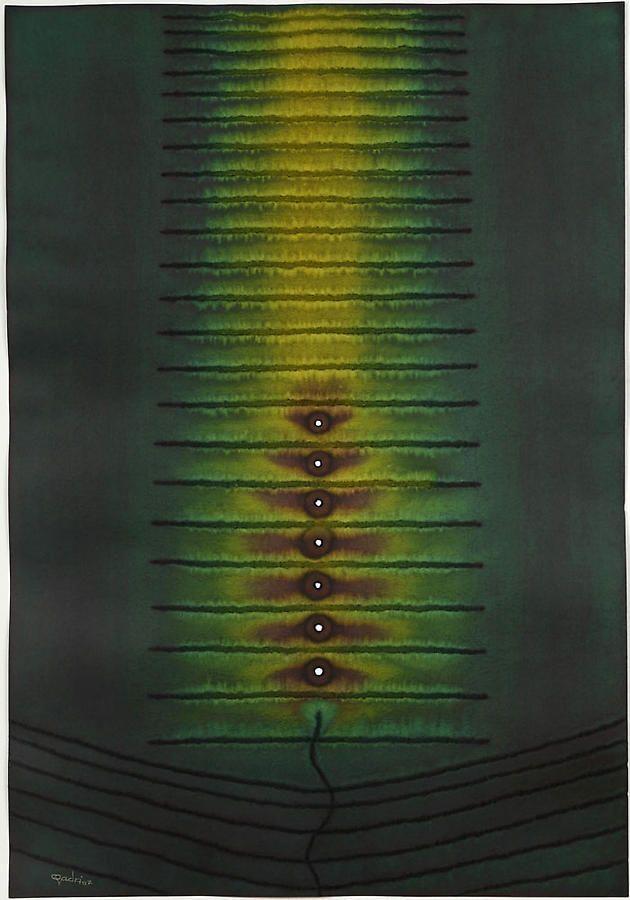 """Sohan Qadri, Vana II , 2007, ink and dye on paper, 39 x 25.5"""""""