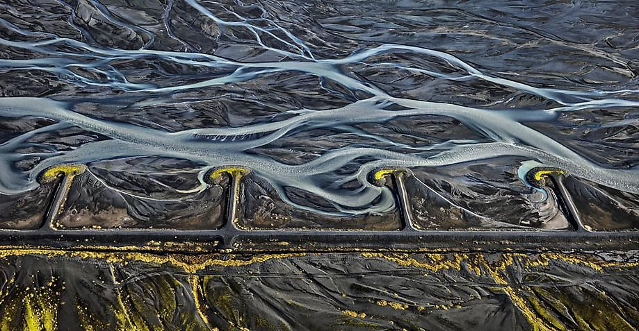 , Edward Burtynsky, Markarfljót River #3, Erosion Control, Iceland, 2012, Chromogenic color print, 38 1/8 x 68 inches