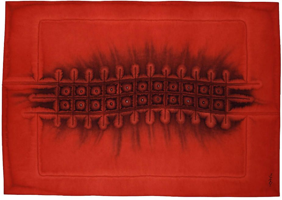 Utsava II, 2004, Ink & dye on paper, 33 x 45""