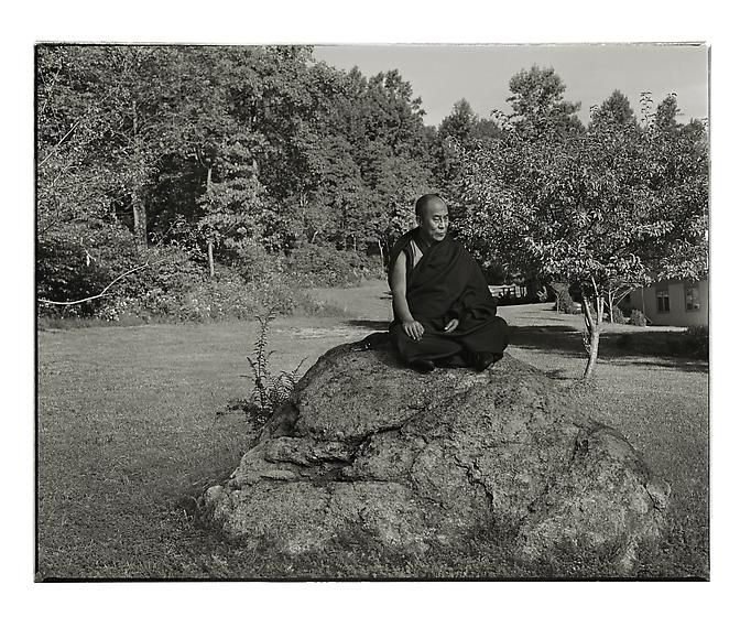 , The Dalai Lama, Washington, New Jersey, 1990, archival pigment print, 30.5 x 37 inches/77.5 x 94 cm, Photograph © Annie Leibovitz