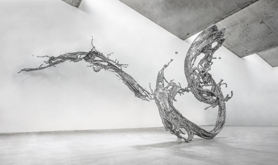 Water in Dripping - Splashing, 2014, stainless steel, 127 x 190 x 340 inches/322.6 x 482.6 x 863.6 cm
