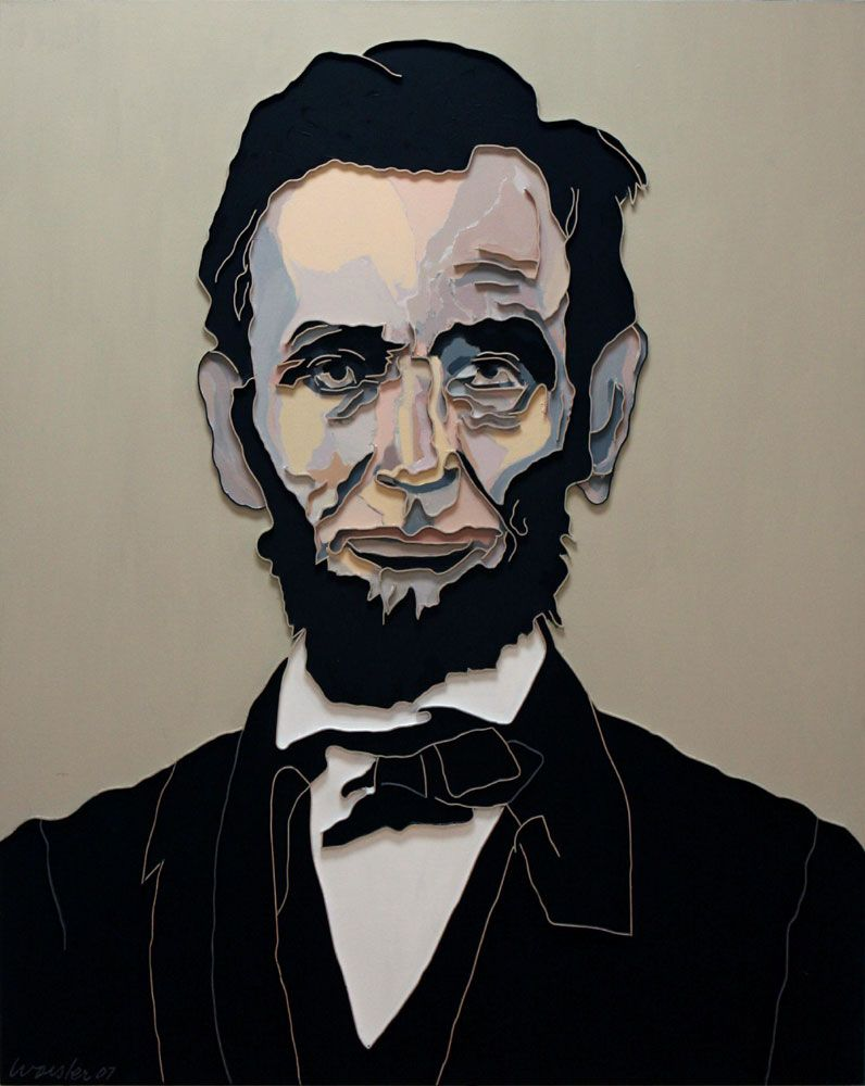 Lincoln, 2007, mixed media on canvas, 60 x 48 inches inches/152.4 x 121.9 cm
