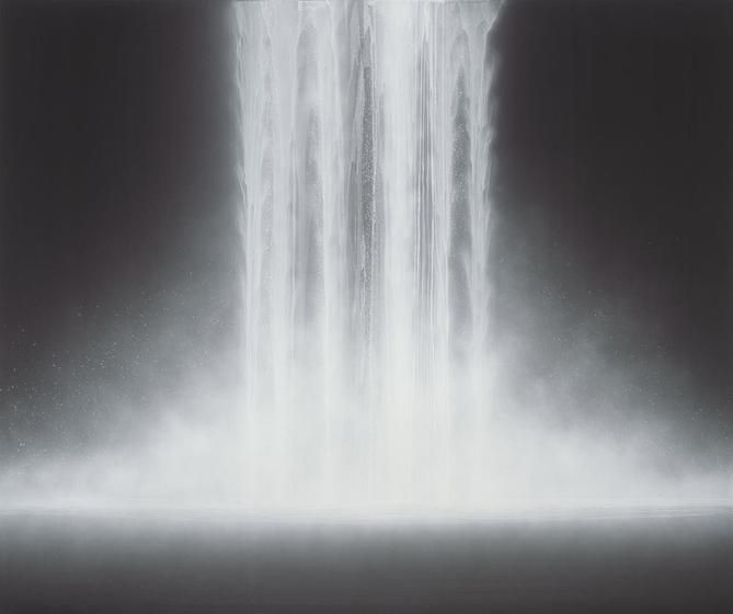, Hiroshi Senju, Waterfall, 2012, natural pigments on Japanese mulberry paper, 63 13/16 x 76 5/16 x 1 3/16 inches/162 x 194 cm