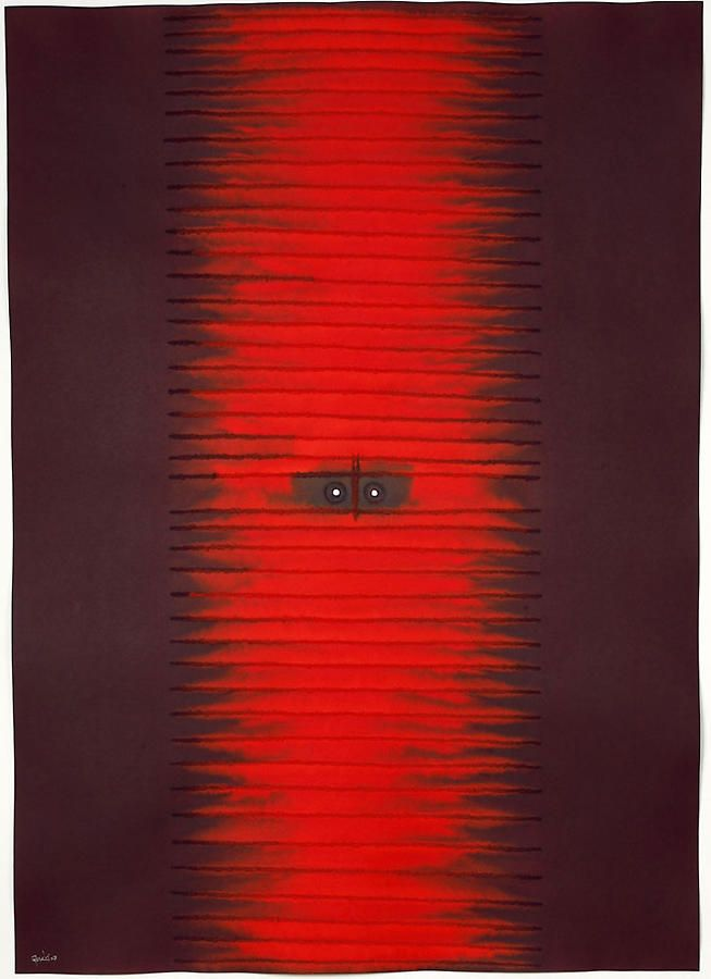 "Sohan Qadri, Sansara II, 2007, Ink and dye on paper, 55 x 39"""