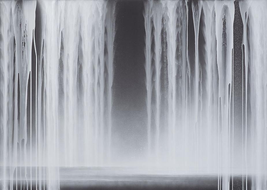 Hiroshi Senju, Falling Water, 2013, Acrylic and fluorescent pigments on Japanese mulberry paper, 63 13/16 x 89 1/2 inches © 2013 Hiroshi Senju