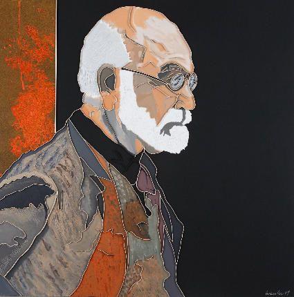 "Lee Waisler, Freud's Vest, 2007, Acrylic, sand, glass and wood on canvas, 60 x 60"""