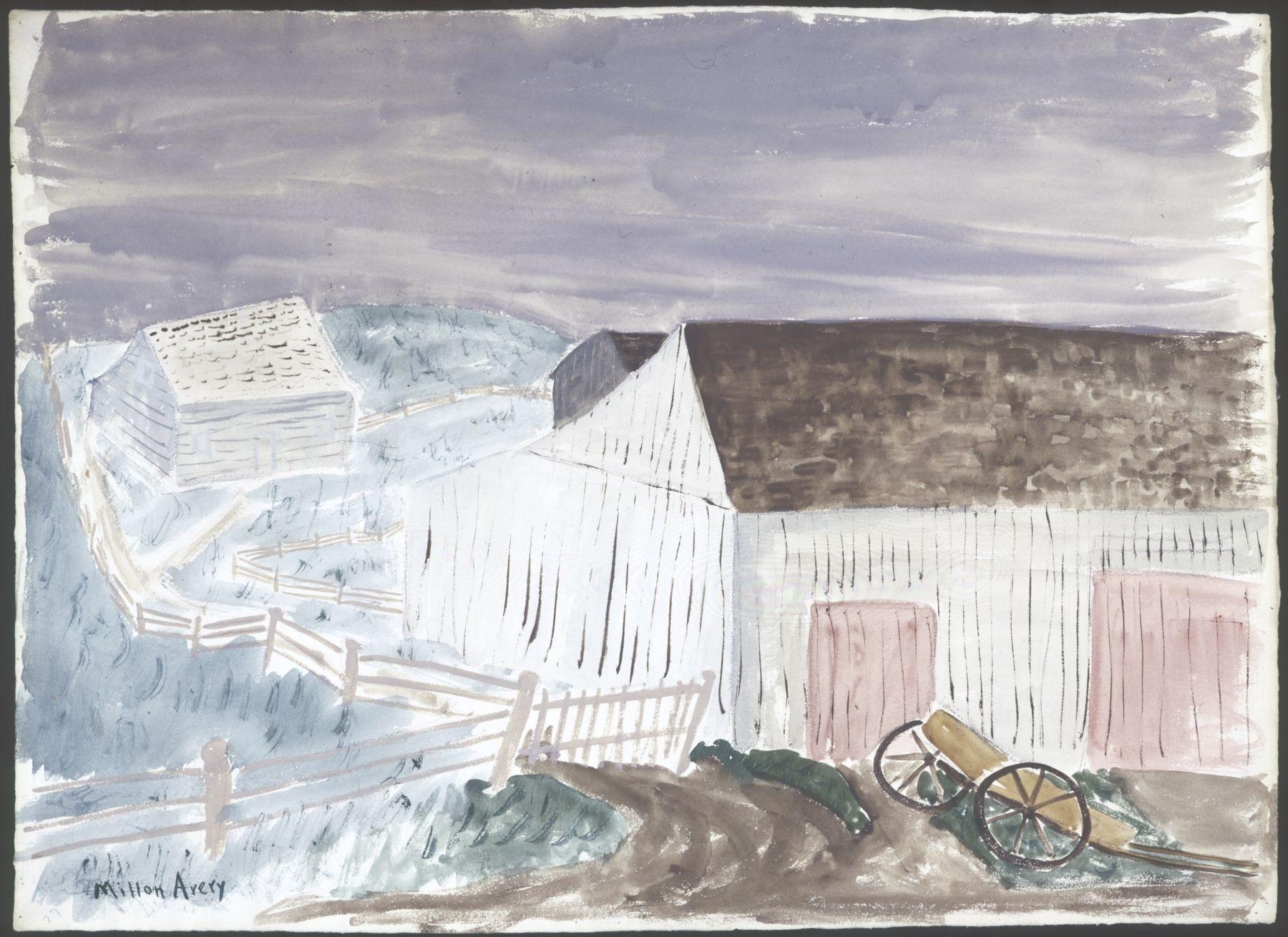 Milton Avery Pale Barns, Pink Doors Watercolor