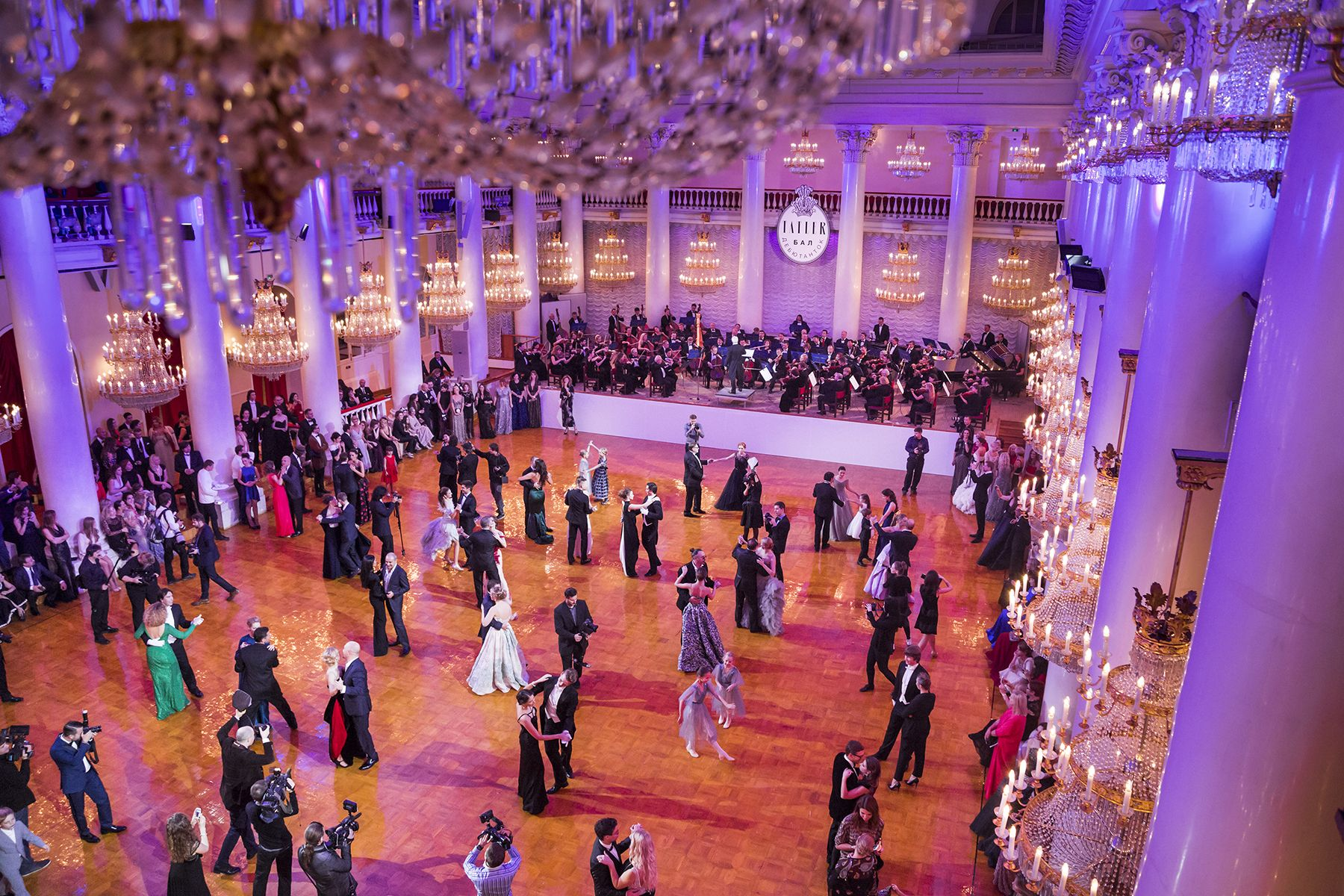 A choreographed waltz, the main event at Tatler's Debutante Ball, in the Pillar Hall at the Palace of Unions, Moscow, 2014. During the Soviet era, the hall was used to display bodies of deceased leaders, including Lenin and Stalin, before their state funerals.